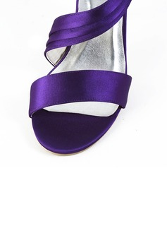 Women's Satin Spool Heel Peep Toe Sandals With Bowknot Velcro