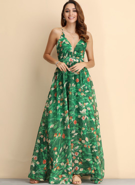 Polyester With Print Maxi Dress (199206163)
