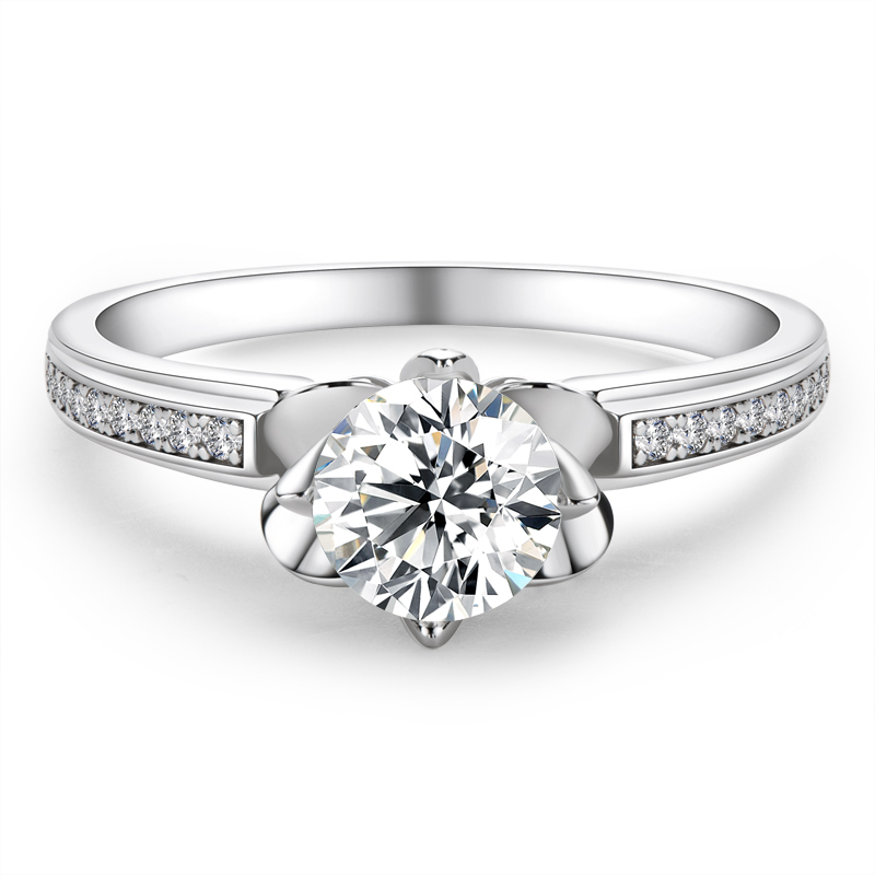Side Stones Floral Round Cut 925 Silver Engagement Rings