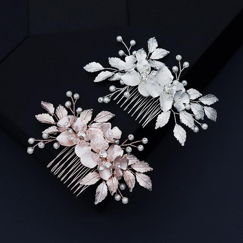 Ladies Beautiful Rhinestone/Alloy/Imitation Pearls Combs & Barrettes With Rhinestone/Venetian Pearl (Sold in single piece)