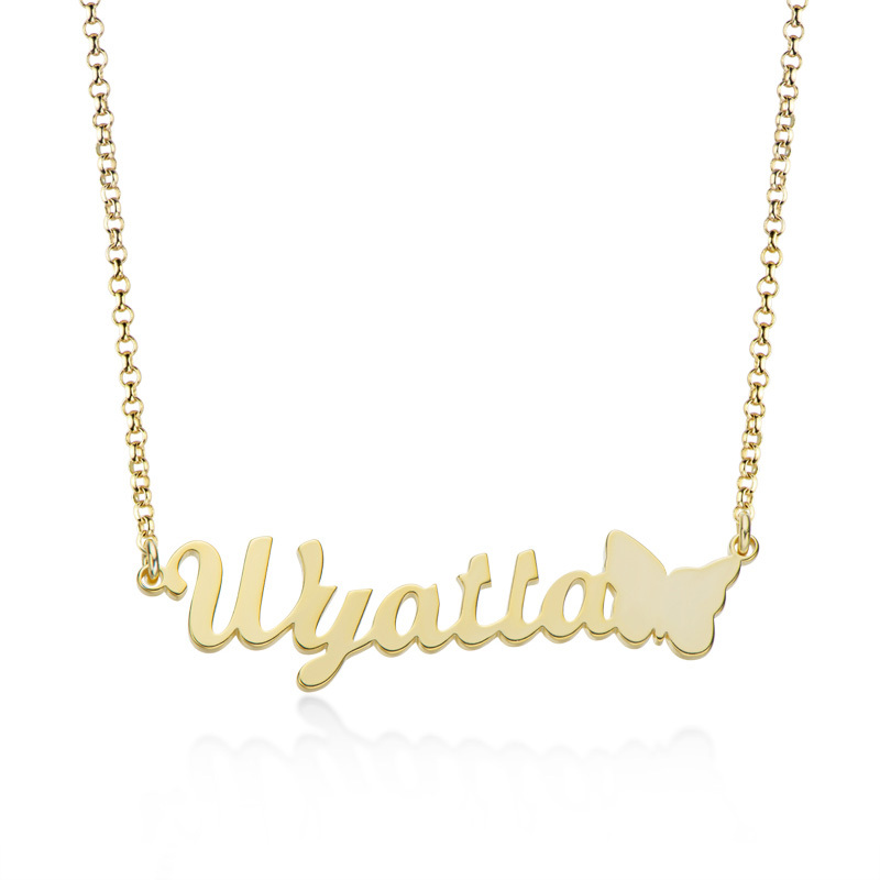 Custom 18k Gold Plated Letter Name Necklace With Butterfly - Birthday Gifts