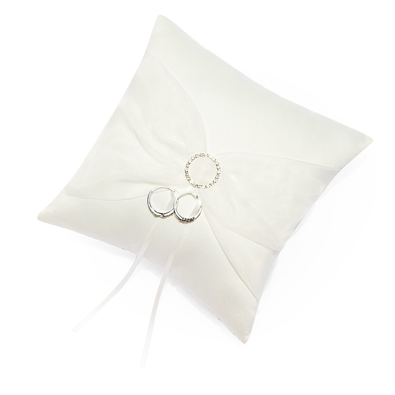 Classic Ring Pillow With Ribbons/Sash/Rhinestones