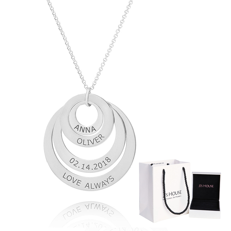 Custom Silver Engraving/Engraved Family Four Circle Necklace With Kids Names - Birthday Gifts Mother's Day Gifts