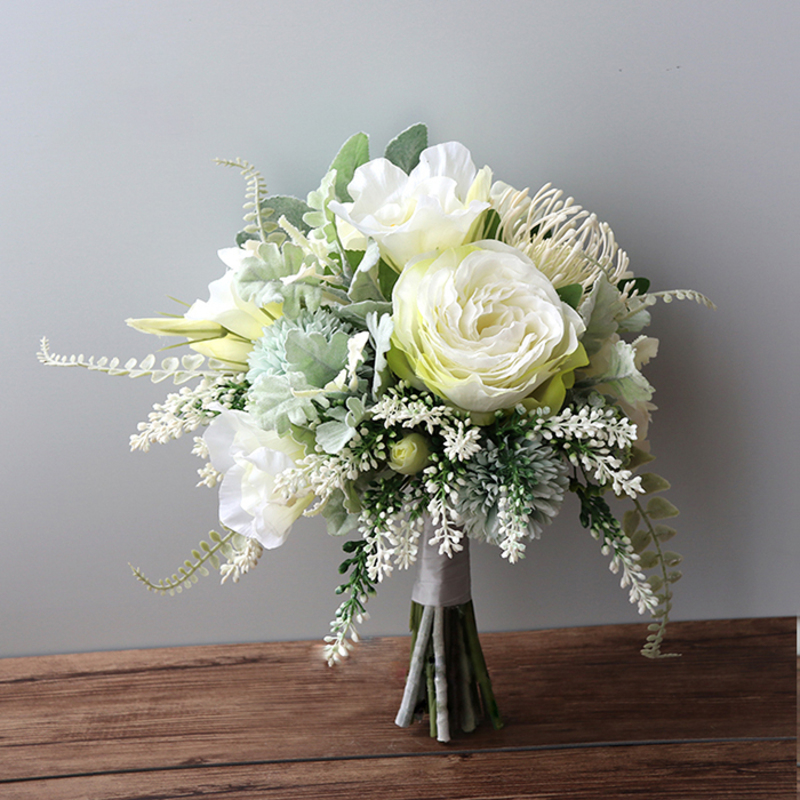 Romantic Free-Form Silk Flower Bridal Bouquets - (9)