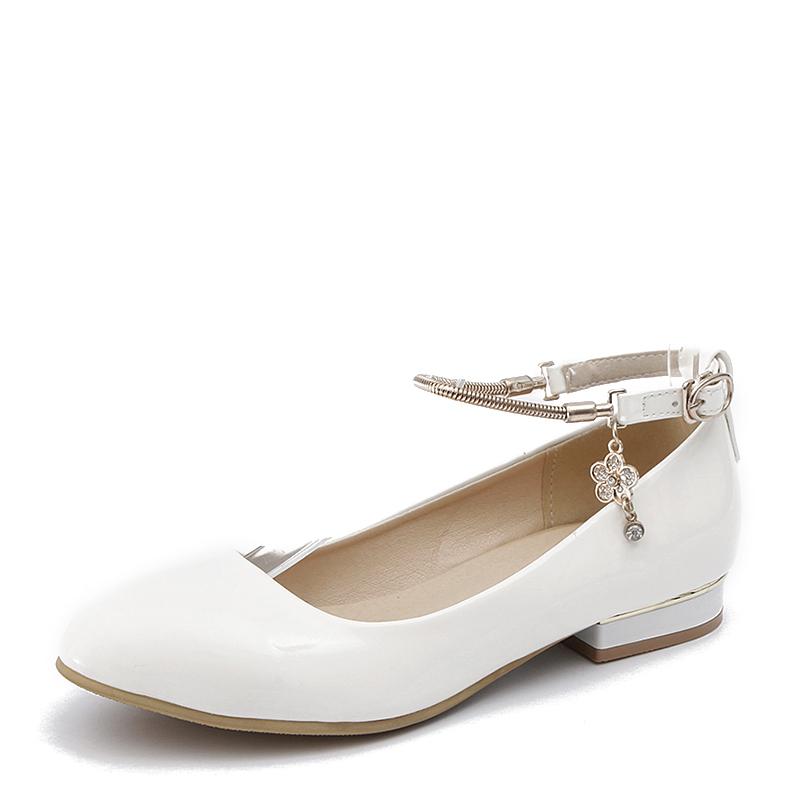 Женщины PU Плоский каблук На плокой подошве Закрытый мыс с Цепь обувь