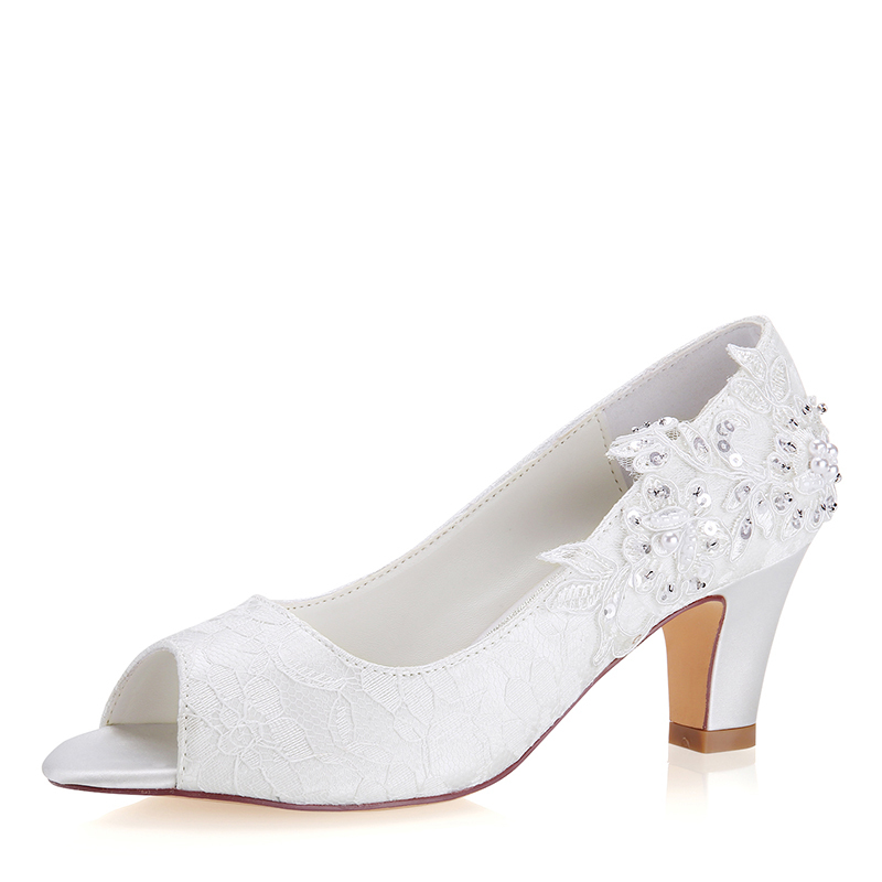 Women's Lace Silk Like Satin Stiletto Heel Peep Toe Pumps With Stitching Lace Pearl