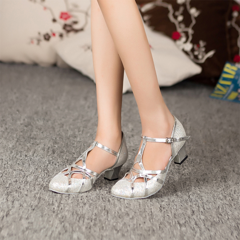 Women's Sparkling Glitter Heels Sneakers Ballroom With T-Strap Dance Shoes
