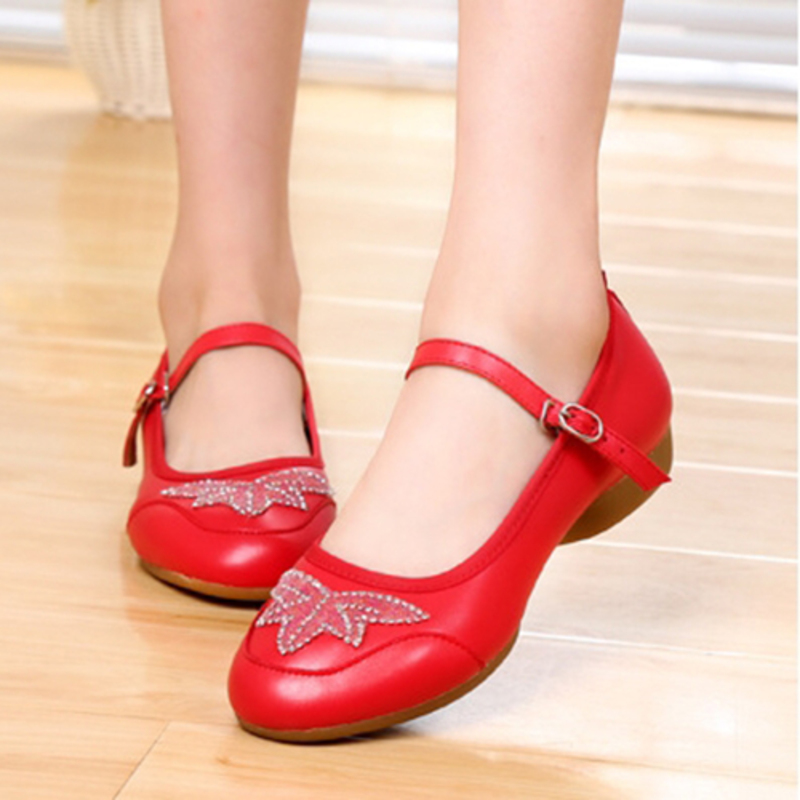 Women's Real Leather Flats Character Shoes With Ankle Strap Dance Shoes