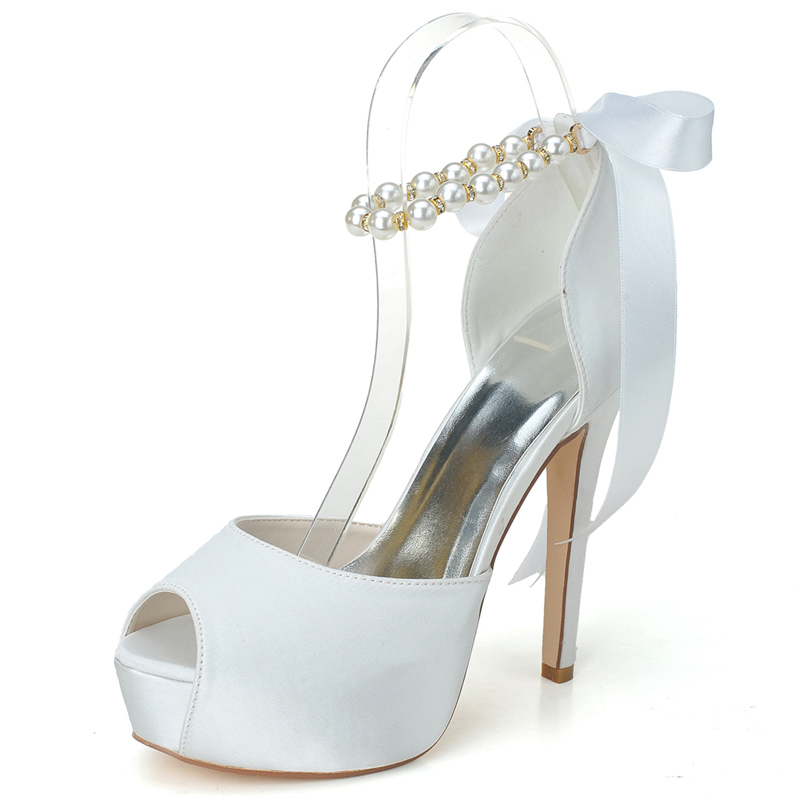 Women's Satin Stiletto Heel Peep Toe Pumps Sandals With Imitation Pearl