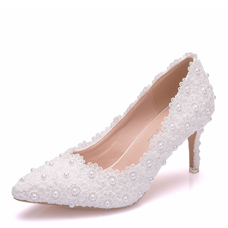 Women's Leatherette Stiletto Heel Pumps With Imitation Pearl Flower