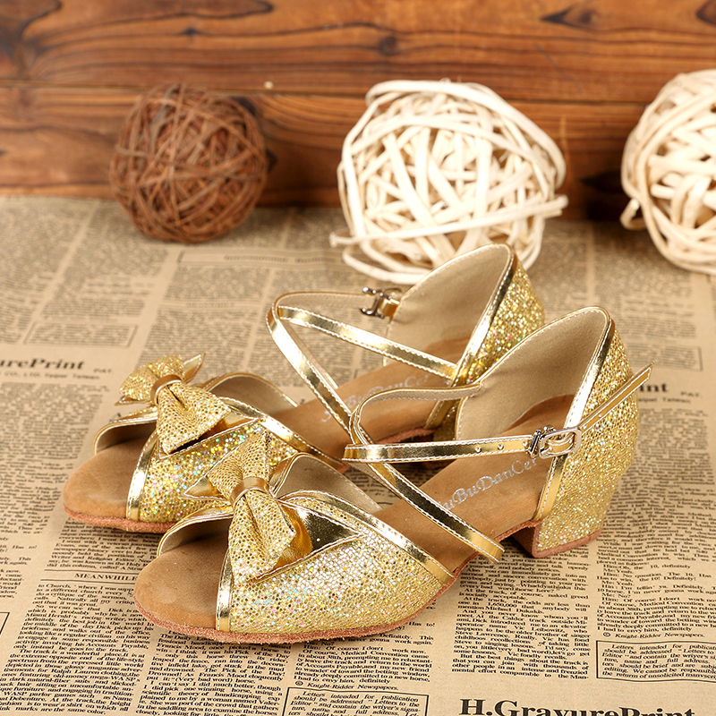 Kids' Sparkling Glitter Heels Sandals Latin Dance Shoes