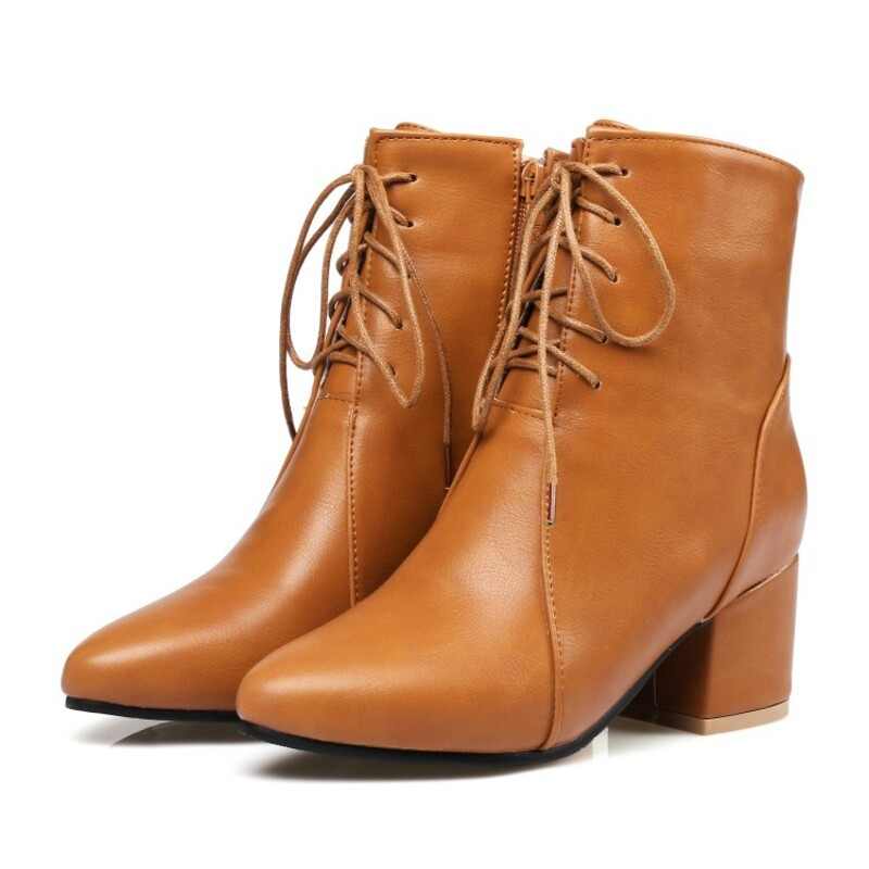 Women's Leatherette Flat Heel Boots Closed Toe Flats With Lace-up