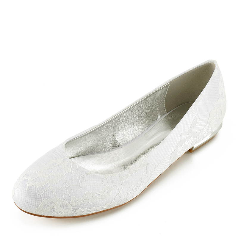 Women's Lace Leatherette Flat Heel Closed Toe Flats