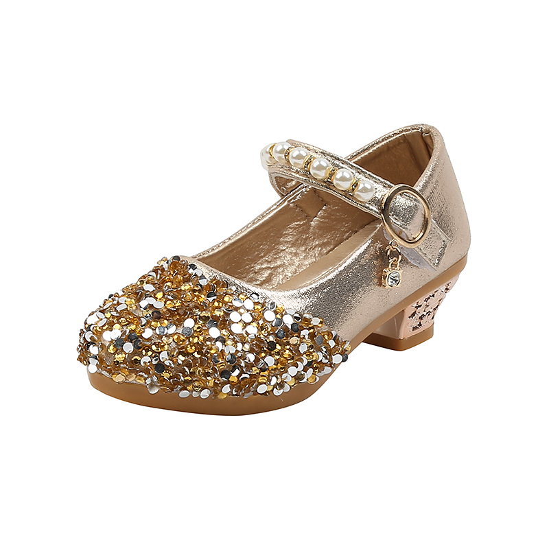 Girl's Closed Toe Sparkling Glitter Flat Heel Flower Girl Shoes With Sequin