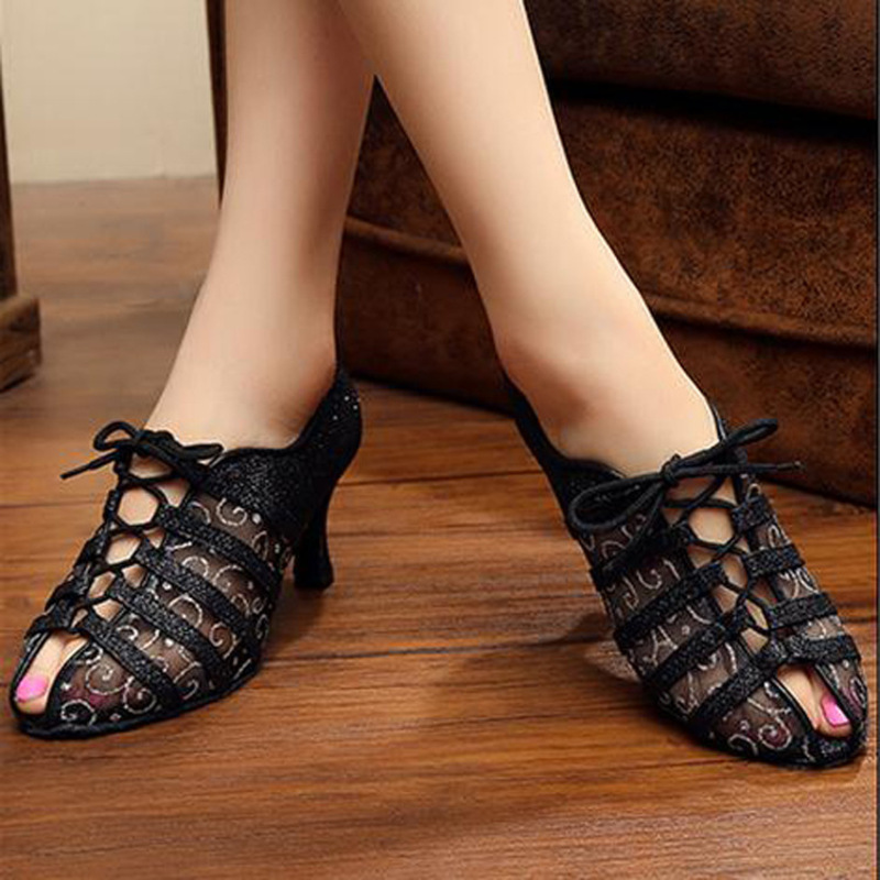 Women's Leatherette Mesh Sandals Pumps Sneakers With Lace-up Dance Shoes