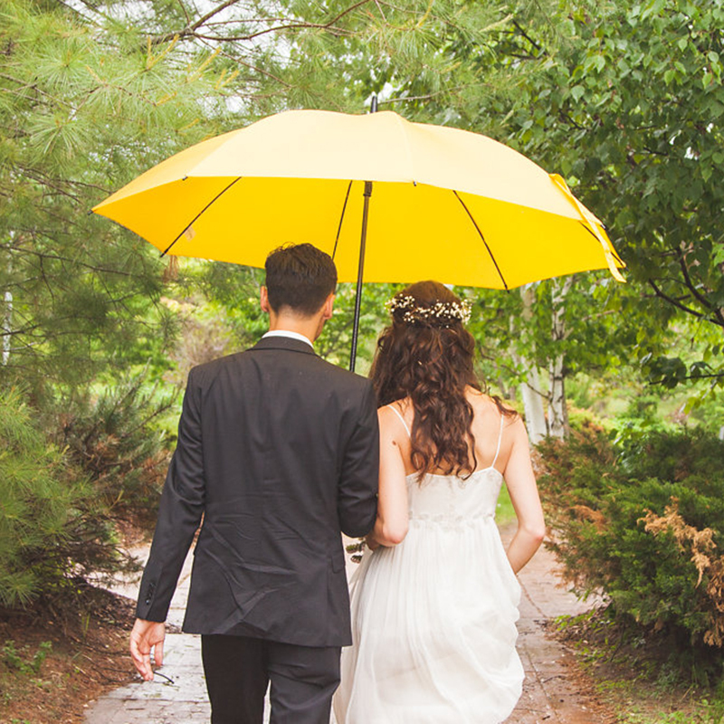 Classic/Simple/Solid-Color Bride And Groom/Round Plastic/Stainless Steel/PVC Wedding Umbrellas