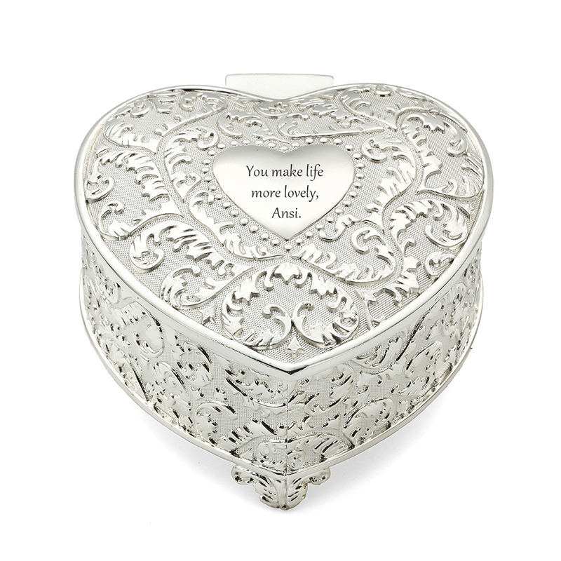 Personalized Heart-shaped Zinc Alloy Jewelry Holders (Sold in a single piece)