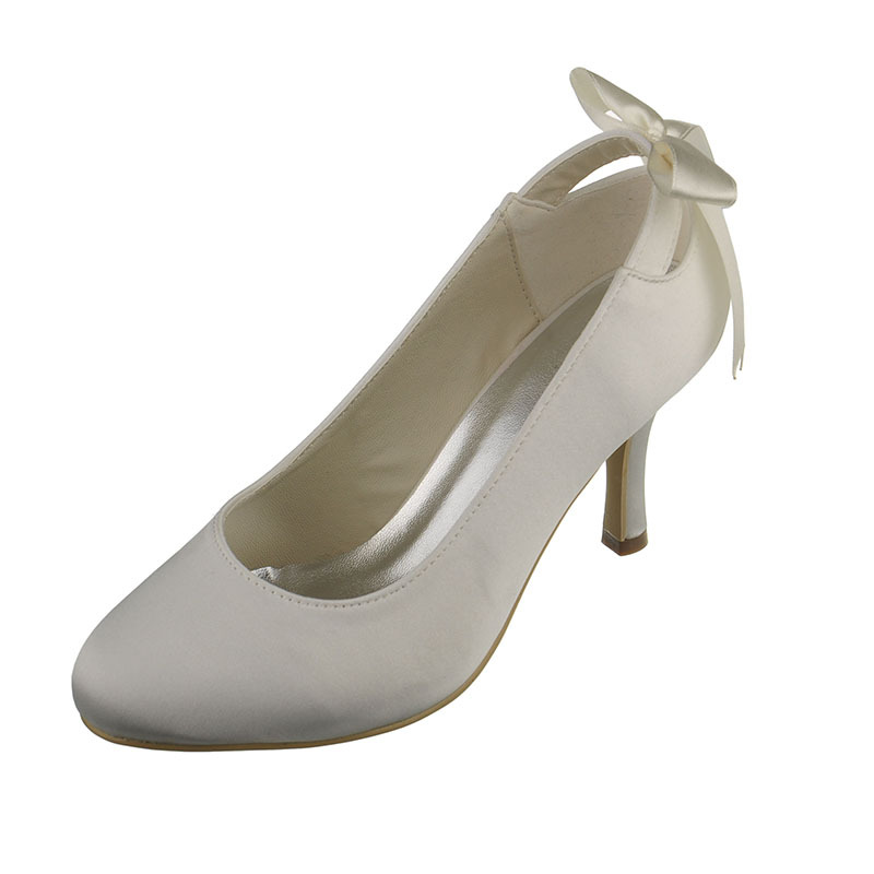 Vrouwen Satijn Stiletto Heel Closed Toe Pumps met Ribbon Tie