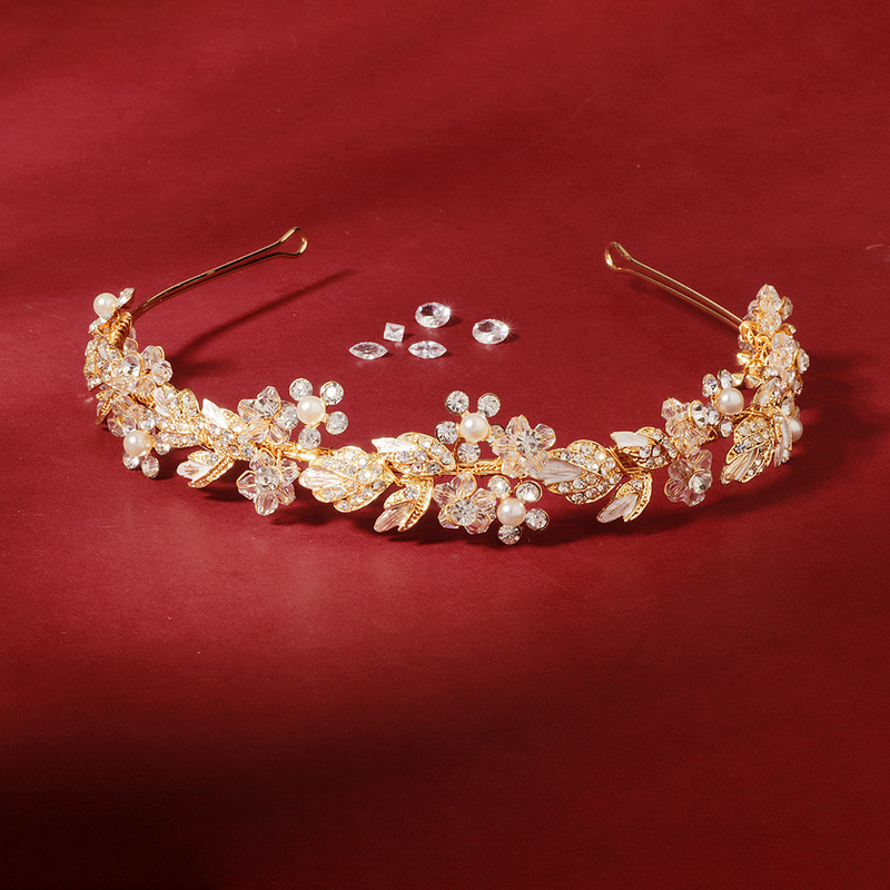Ladies Elegant Crystal/Rhinestone/Alloy/Imitation Pearls Tiaras With Rhinestone (Sold in single piece)