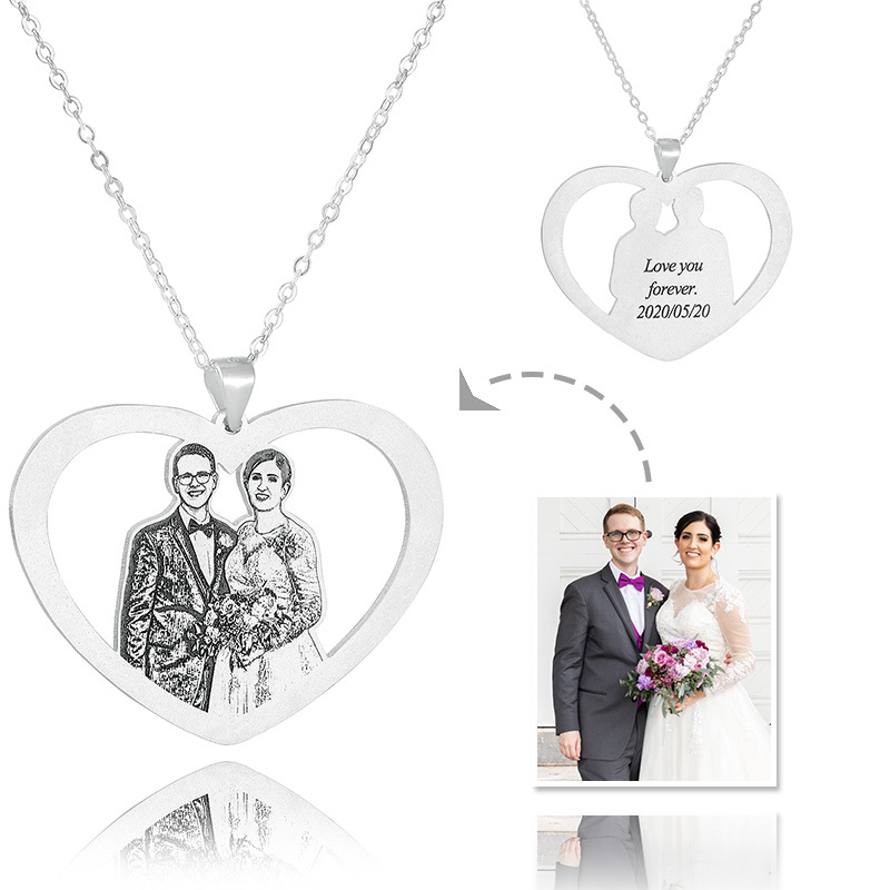Custom Sterling Silver Heart Black And White Photo Engraved Heart Necklace Engraved Necklace Photo Necklace - Birthday Gifts