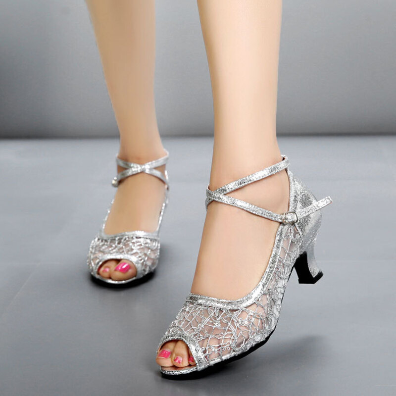 Women's Leatherette Mesh Heels Sandals Latin Dance Shoes