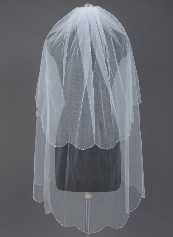 Two-tier Fingertip Bridal Veils With Beaded Edge
