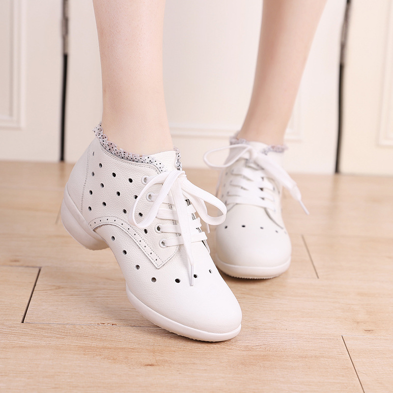Women's Real Leather Sneakers Modern Jazz Sneakers With Hollow-out Lace-up Dance Shoes
