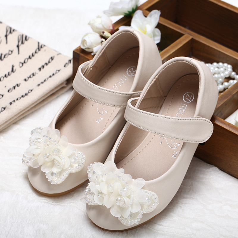 Flicka Stängt Toe konstläder platt Heel Flower Girl Shoes med Bowknot Strass