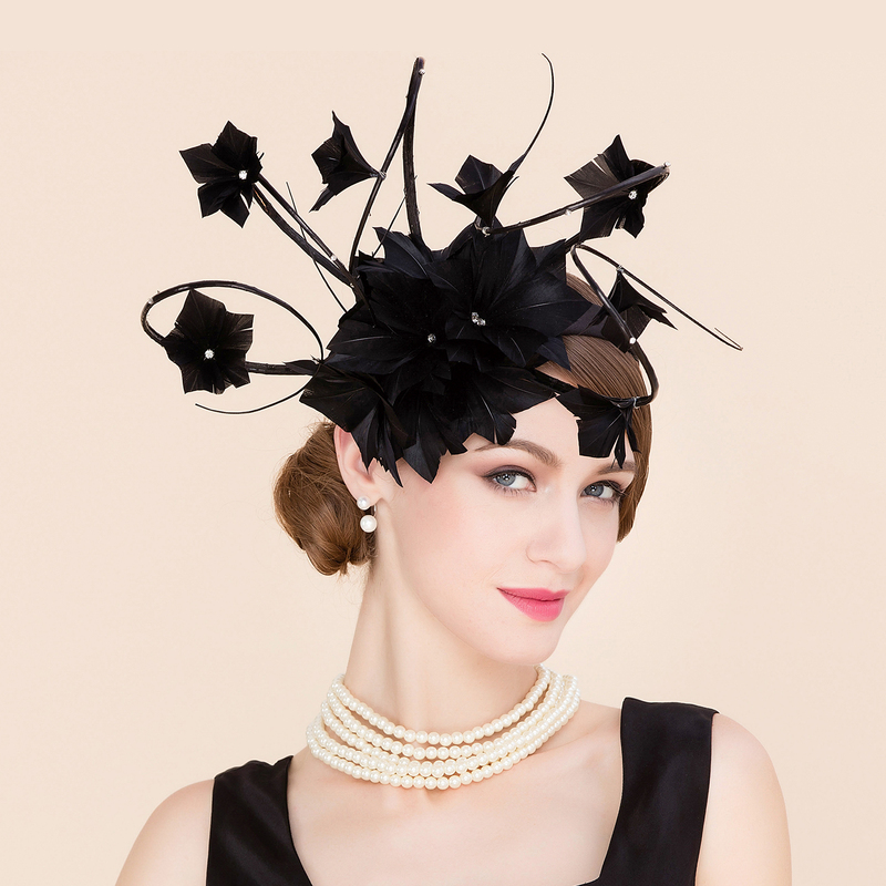Ladies' Charming Cambric With Feather Fascinators/Kentucky Derby Hats/Tea Party Hats
