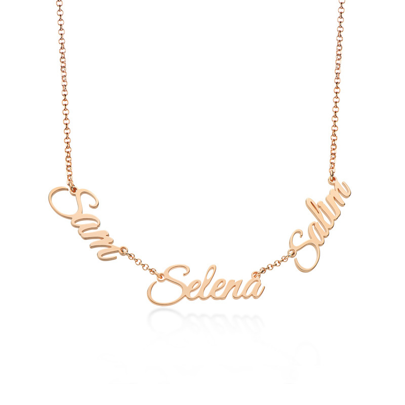 Custom 18k Rose Gold Plated Letter Three Name Necklace - Birthday Gifts