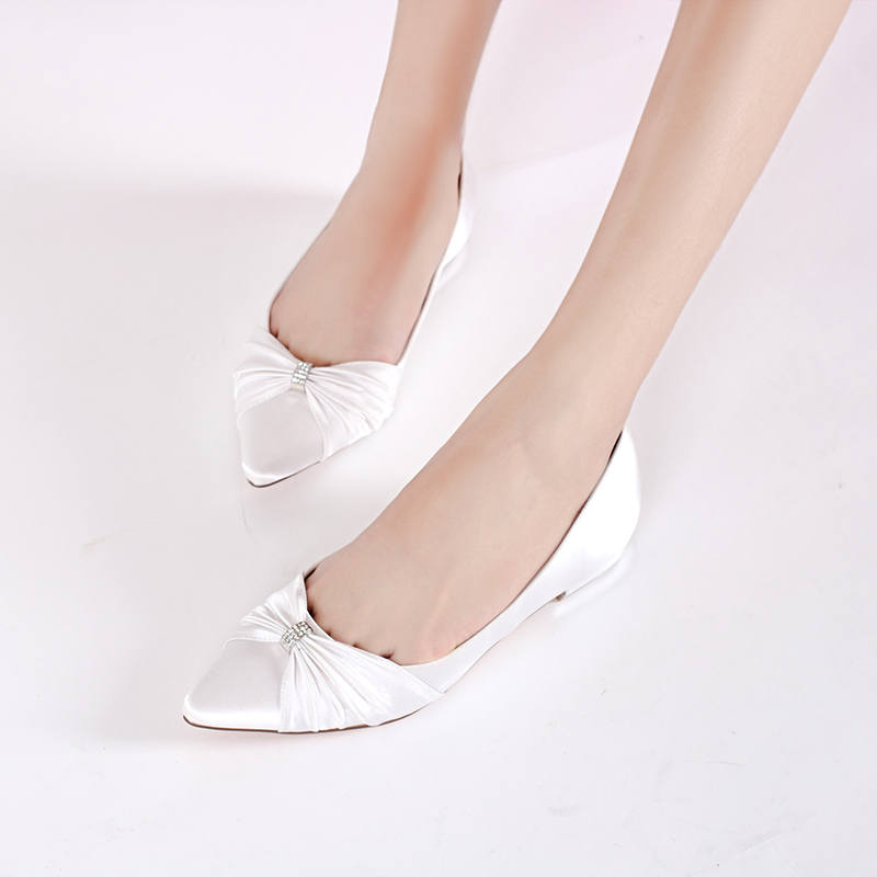 Women's Silk Like Satin Low Heel Closed Toe Flats With Buckle Ruffles