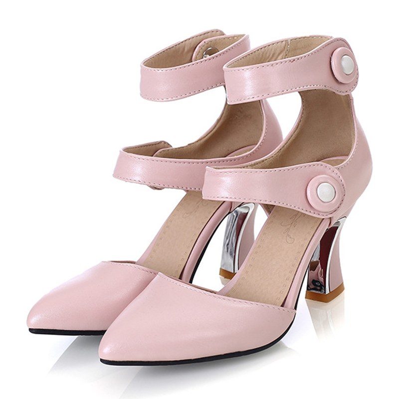 Women's Leatherette Stiletto Heel Boots Closed Toe Pumps With Button