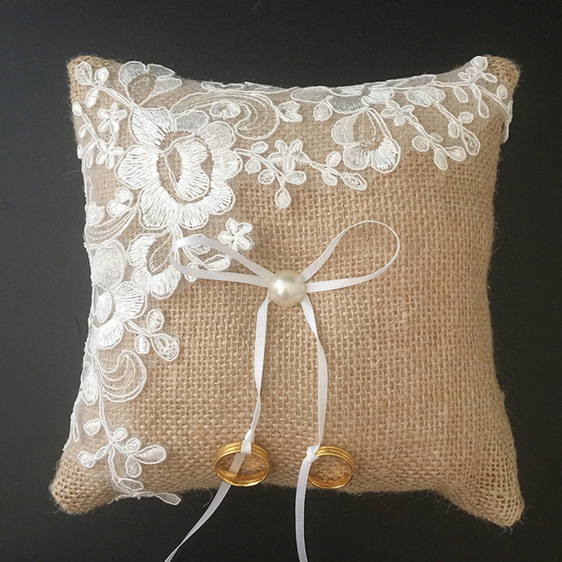 Square Ring Pillow in Lace/Linen With Ribbons/Faux Pearl