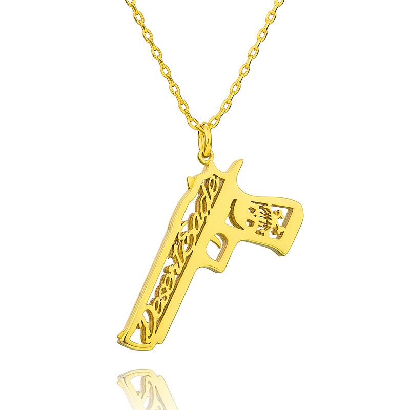 Custom 18k Gold Plated 3D Hollow Carved Gun Shape Name Necklace - Birthday Gifts Mother's Day Gifts
