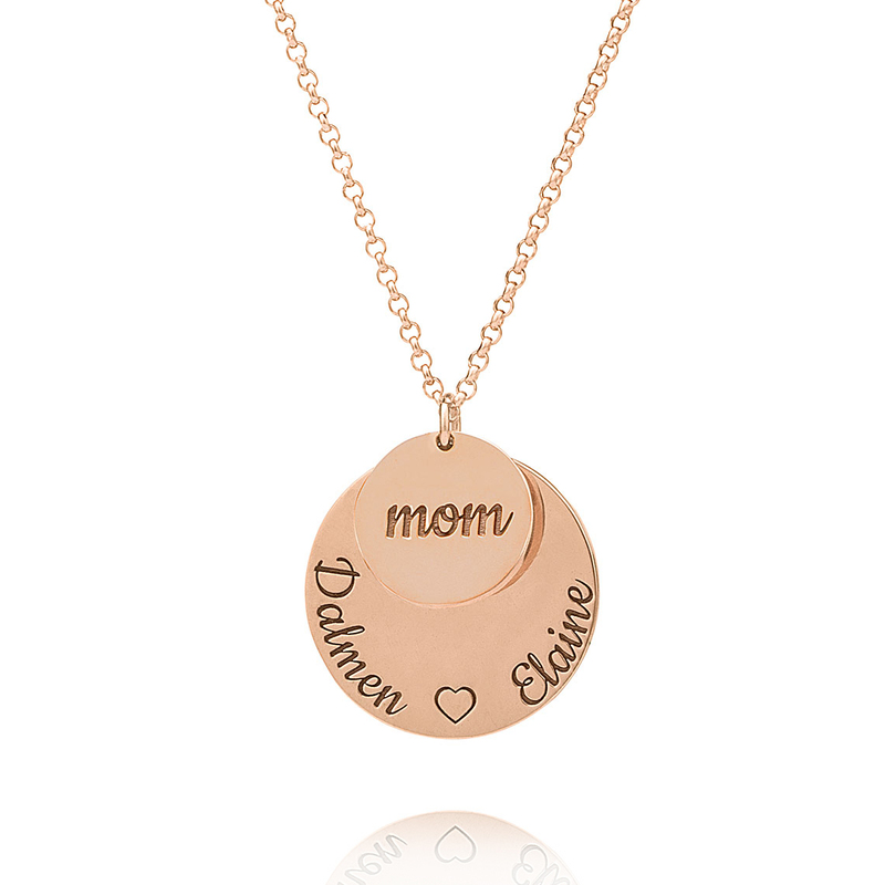 Custom 18k Rose Gold Plated Circle Layered Three Engraved Necklace Circle Necklace With Kids Names - Birthday Gifts Mother's Day Gifts