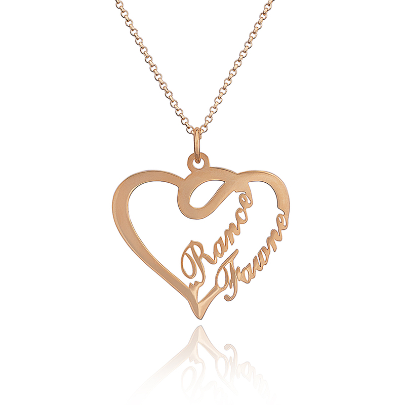 Custom 18k Rose Gold Plated Silver Heart Overlapping Two Name Necklace - Birthday Gifts Mother's Day Gifts