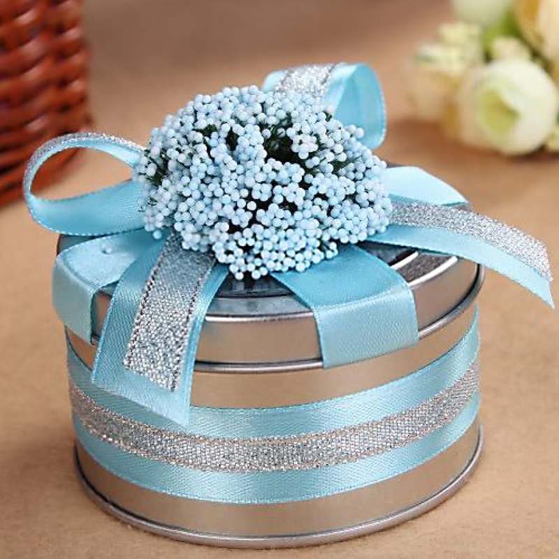 Smiling Flower Cylinder Favor Tin With Ribbons (Set of 6)