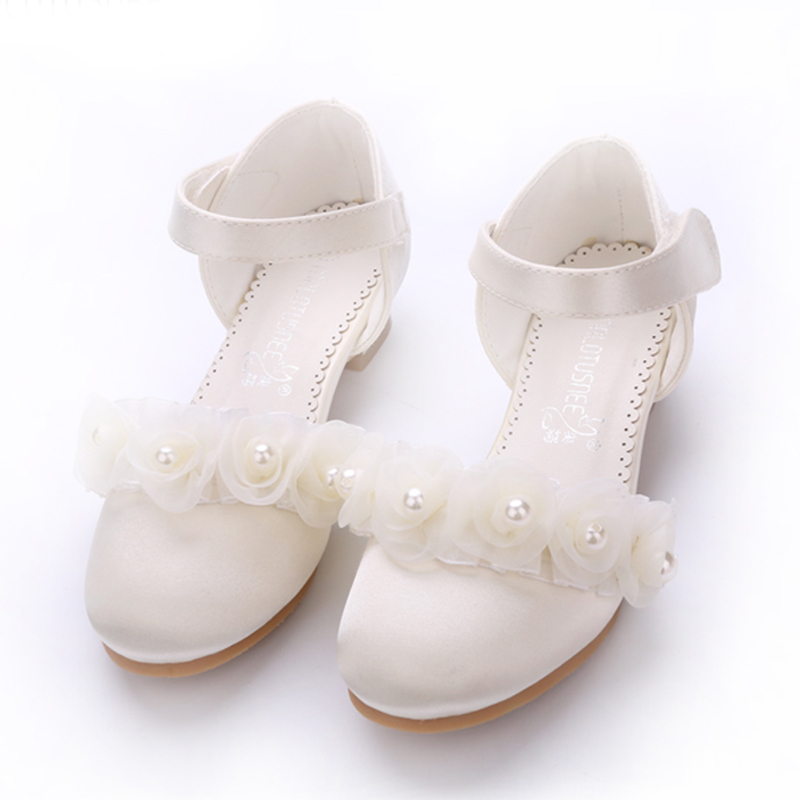 Girl's Closed Toe Silk Like Satin Low Heel Pumps Flower Girl Shoes With Imitation Pearl Velcro Flower