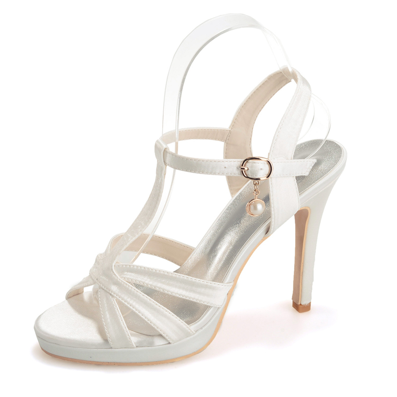 Women's Satin Stiletto Heel Peep Toe Platform Sandals With Buckle