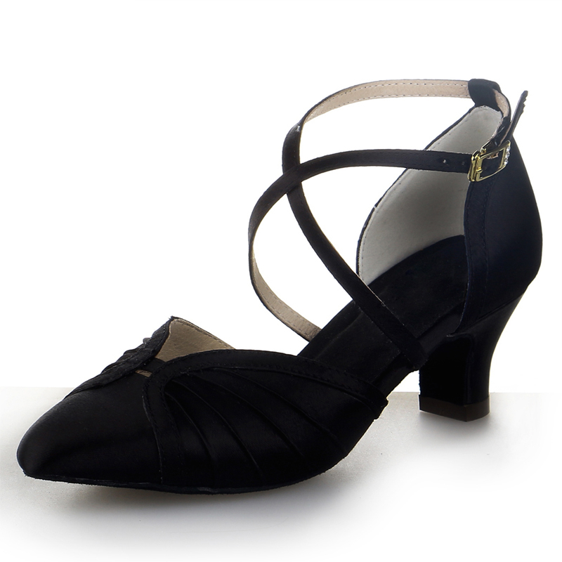 Women's Satin Heels Ballroom With Ankle Strap Buckle Dance Shoes