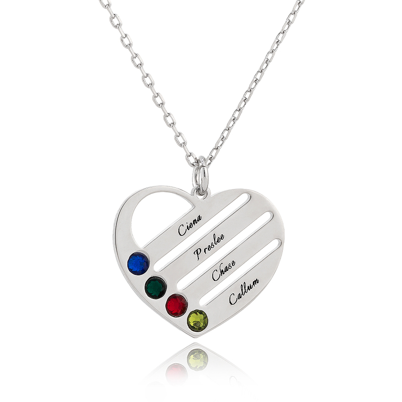 [Free Shipping]Custom Silver Engraving/Engraved Four Birthstone Necklace Family Necklace With Heart - Birthday Gifts Mother's Day Gifts