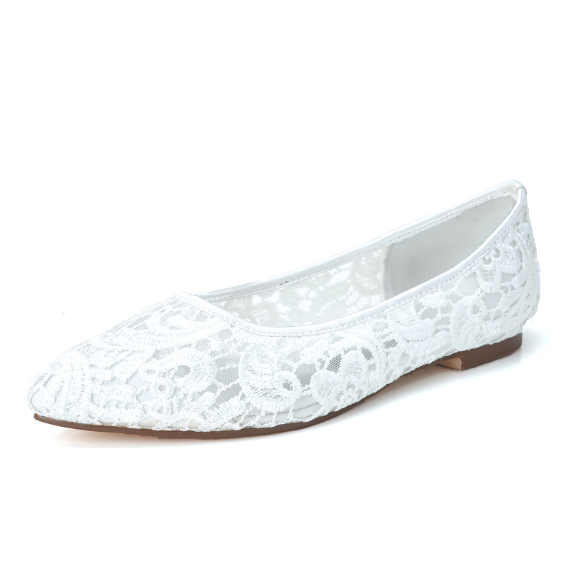 Women's Lace Flat Heel Closed Toe Flats