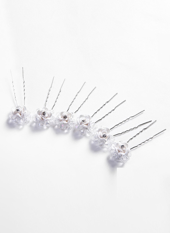 White Alloy Hairpins (Set of 6)