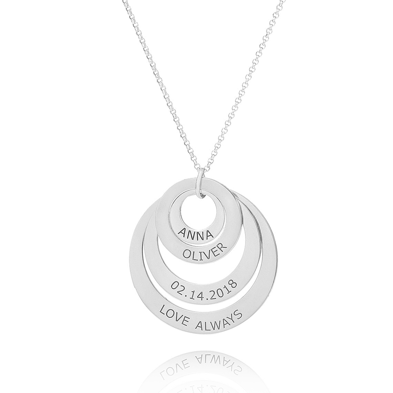 [Free Shipping]Custom Silver Engraving/Engraved Family Four Circle Necklace With Kids Names - Birthday Gifts Mother's Day Gifts