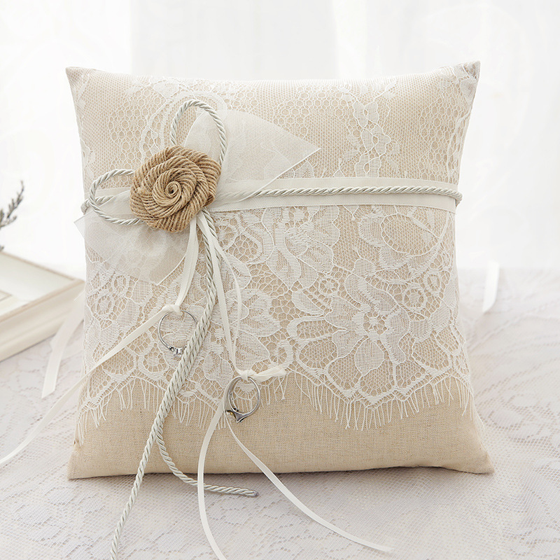 Grace Ring Pillow in Cloth With Bow/Flowers/Lace