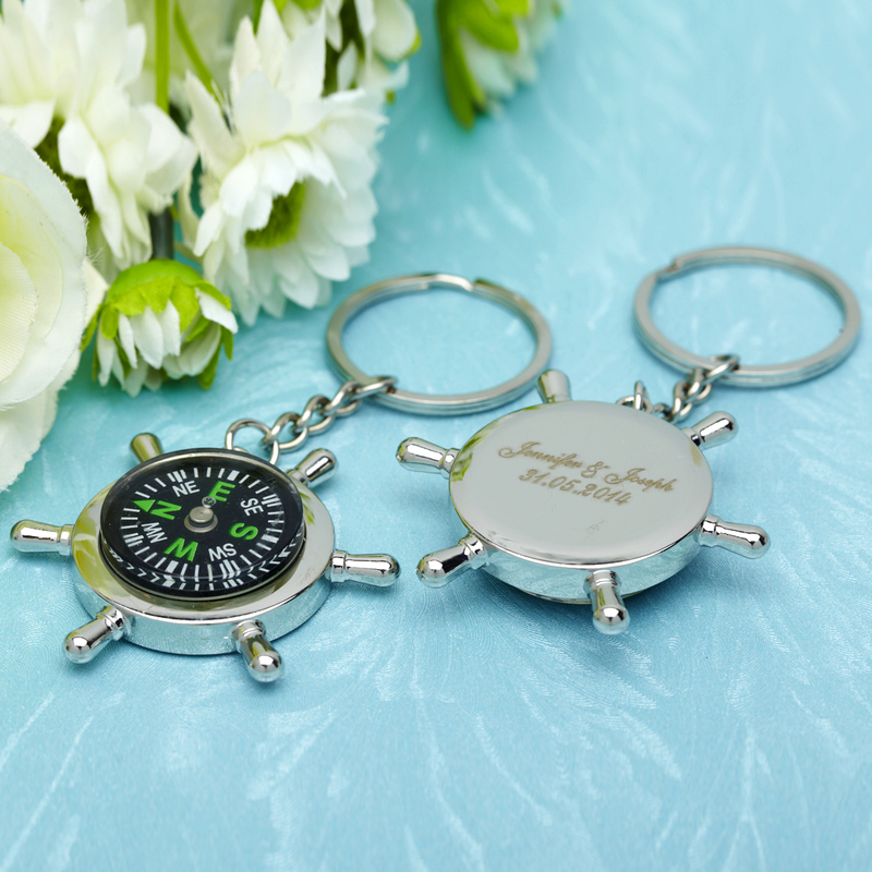 Personalized Compass Stainless Steel Keychains With Compass (Set of 6)