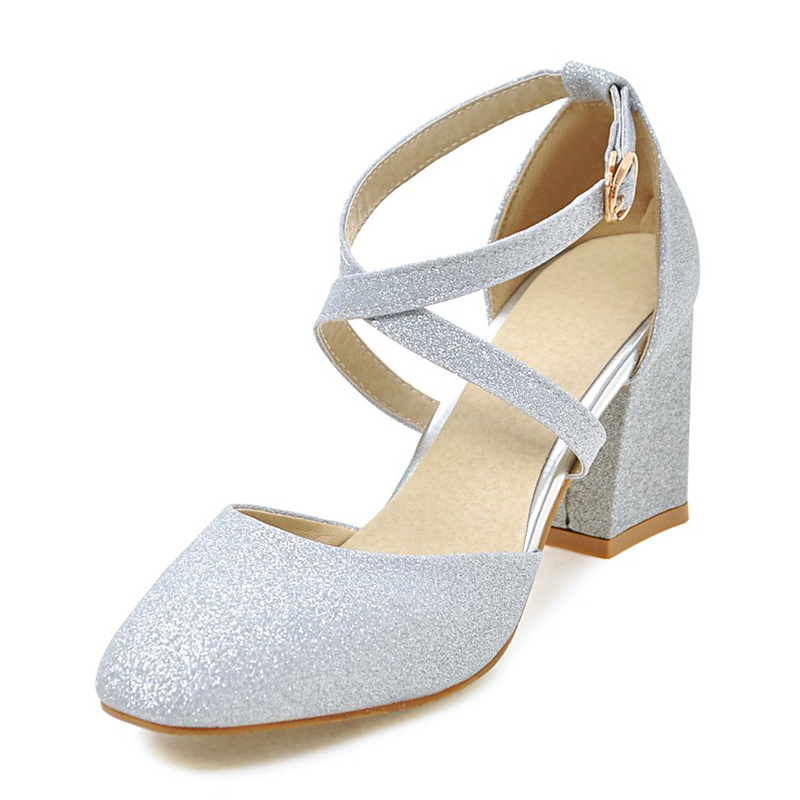 Women's Leatherette Chunky Heel Pumps With Sequin