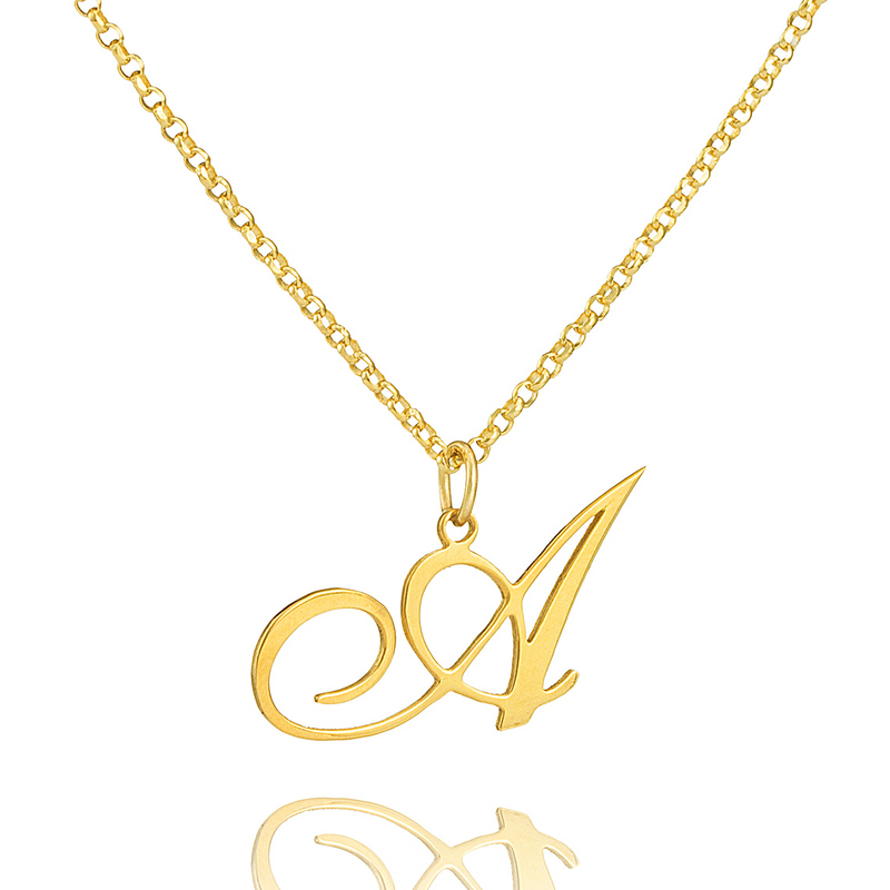 Custom 18k Gold Plated Silver Vintage Initial Necklace - Birthday Gifts Mother's Day Gifts