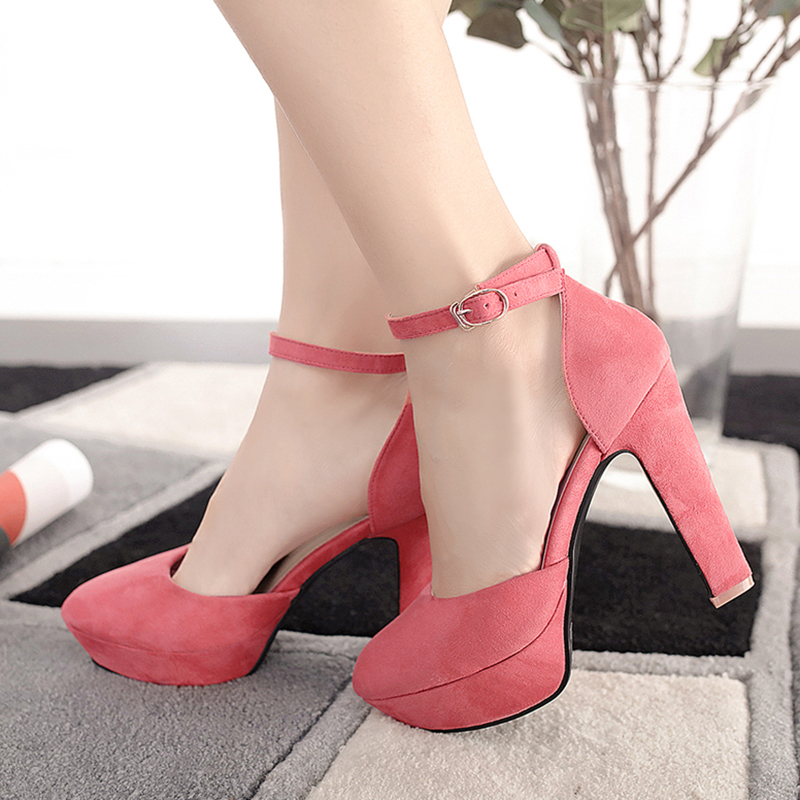 Women's Leatherette Cone Heel Sandals With Buckle shoes