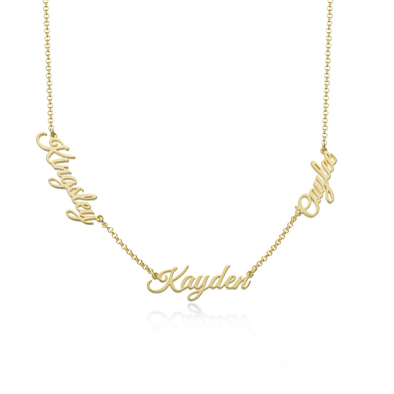 Custom 18k Gold Plated Letter Three Name Necklace - Birthday Gifts